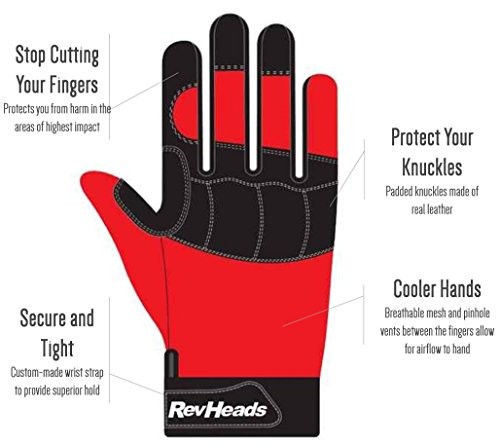 MECHANIC GLOVES For Working On Cars - Work Safety Gloves Protect Fingers And Hands - Large Size Fits Most Men, 1 Pair by RevHeads (Image #1)