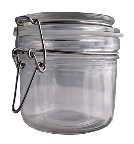 1ct. Premium 8oz Reusable Airtight Chefs Glass Spice and Salt Jar with Metal Clasp ()