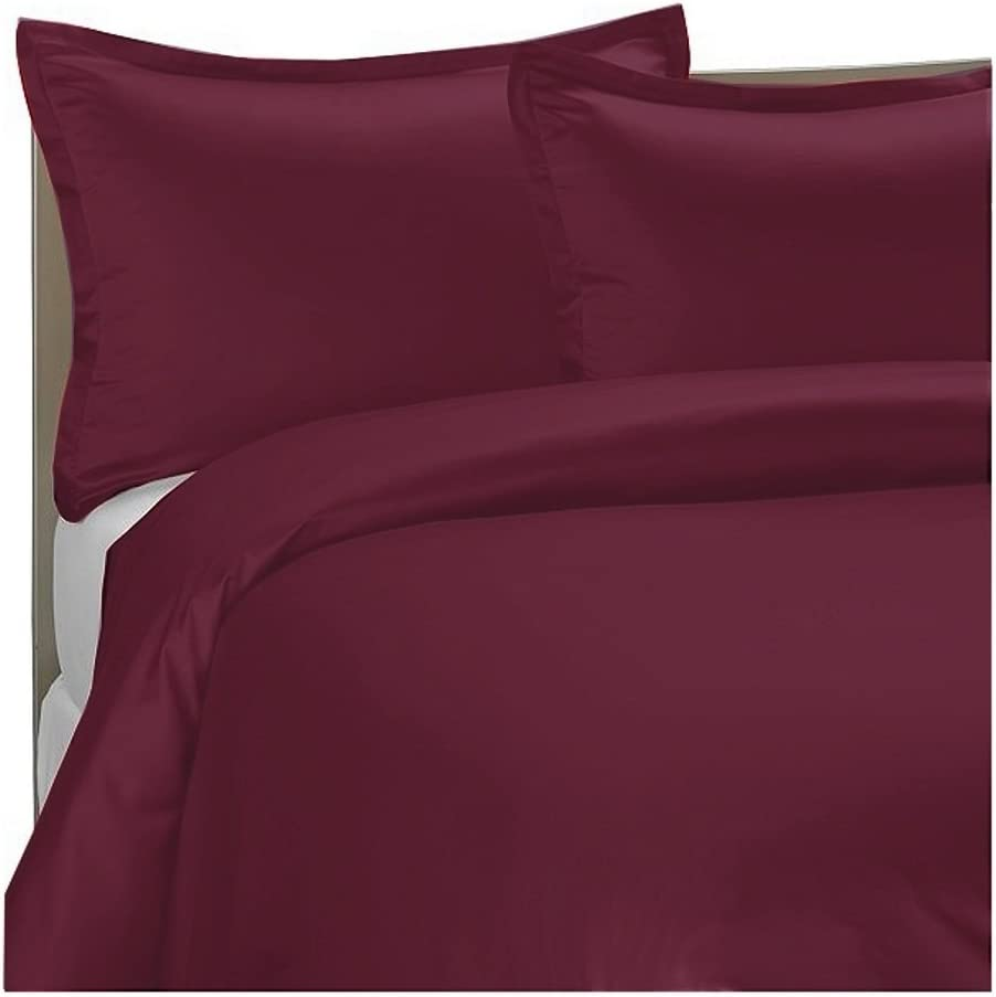 300TC Egyptian Cotton TWIN BURGUNDY SOLID Duvet Cover Set BY MARRIKAS COMINHKR006691