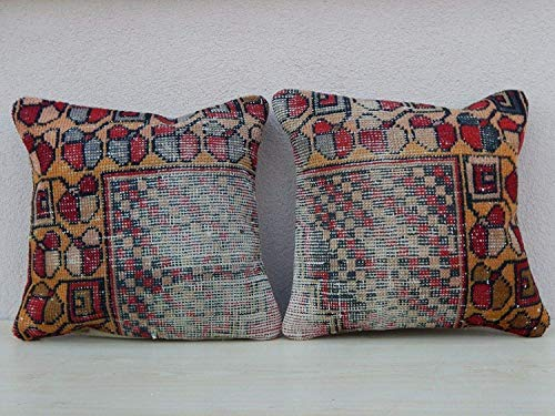 Traditional Turkish Kilim Style Cushion, Novelty Natural Cover for Living Room, Pair Vintage Oushak Overdyed Rug Cushion Covers Muted Throw Pillows with Floral Design 18'' X 18'' (45 x 45 Cm)