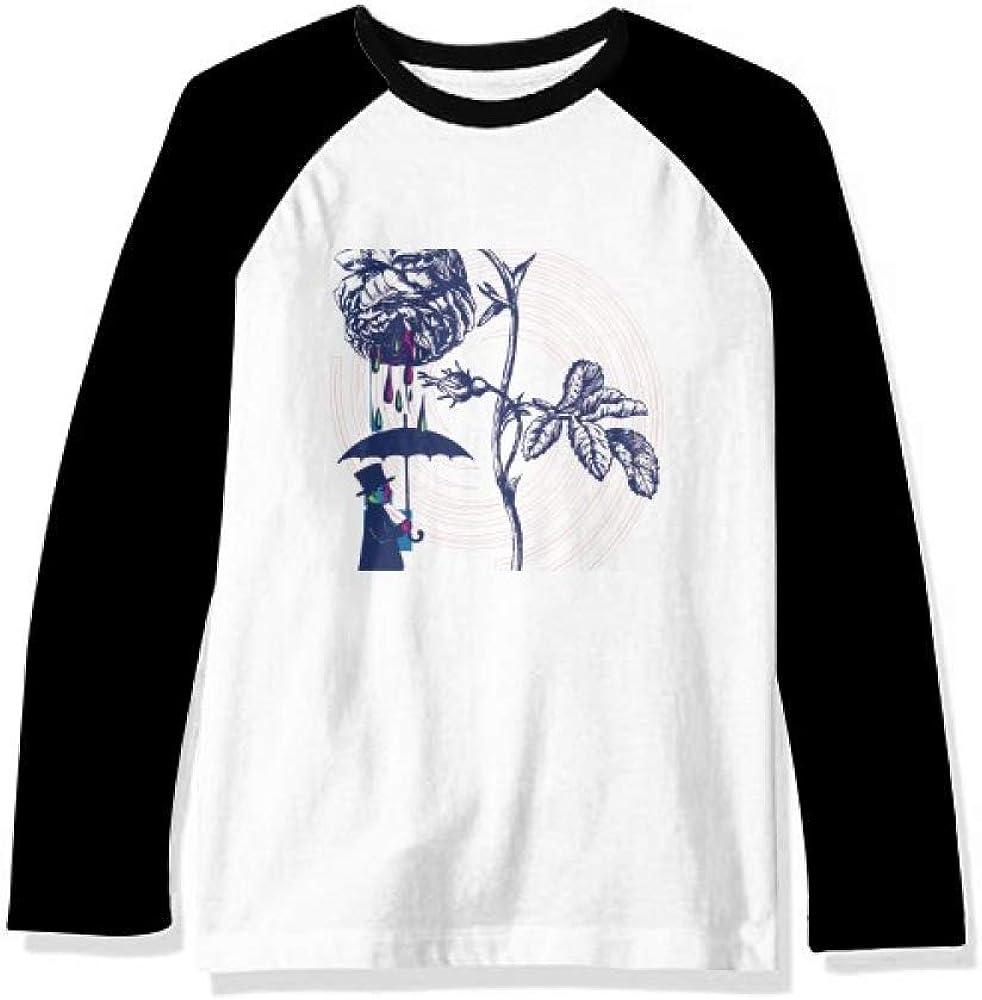 DIYthinker Plant Leaves Rose Umbrella Hat Flower Long Sleeve Top Raglan T-Shirt Cloth