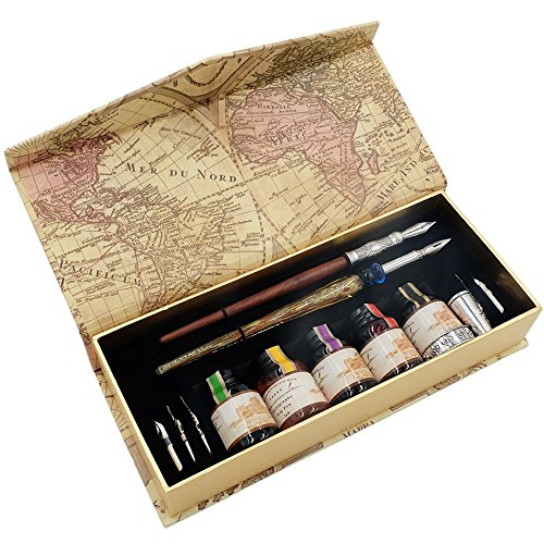 Dye Wood Based (GC Calligraphy Pen Set-5 Bottle Ink-100% Hand Craft-Wood Pen Stem- Glass Pen Stem-Dip Pen with 7 Nibs&1 Pen Holder)