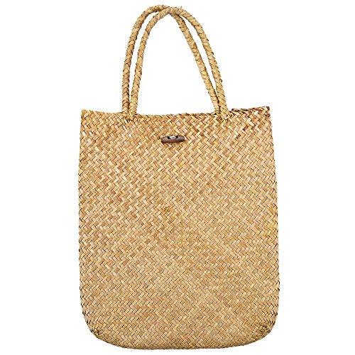 Meaeo Summer Beach Bag Rattan Grass Weaved Casual Tote Shopping Bolsos Mujeres Travel Tourist Storage Bag Hombro (Amarillo)