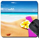 MSD Suqare Mousepad 8x8 Inch Mouse Pads/Mat design 27384338 Sexy woman on the beach body part wearing stylish pink bikini yellow frangipani flower belly healthy lifestyle summer vac