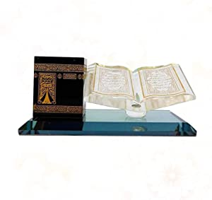 nobranded Ramadan Decor Eid Mubarak Gift Muslim Ornaments Islamic Decoration Table Crystal Gilded Kaaba Book Miniature Model for Desktop Gift Ornament Home Office