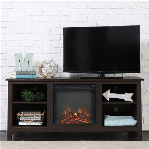 Cheap Espresso Wood 58-inch TV Stand Electric Fireplace Space Heater Black Friday & Cyber Monday 2019