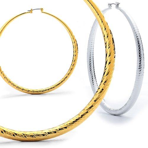 Hollow Round Diamond Cut Hoop Earings. 2.75 INCH (GHD5)