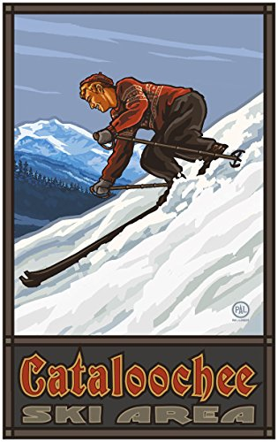 "Cataloochee Ski Area North Carolina Downhill Skier Man Travel Art Print Poster Paul A. Lanquist (30"" x 45"")"