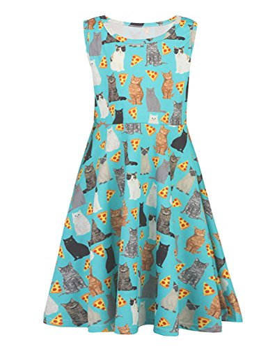 Uideazone Girls Printed Pizza Cats Kittens Round Neck Sleeveless Dress Cute Sundress 10-12 Years