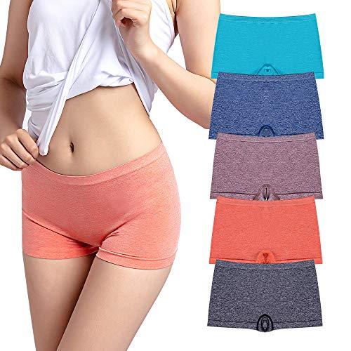 R RUXIA Women's Boyshort Panties Seamless Nylon Underwear Stretch Boxer Briefs 5 Pack S