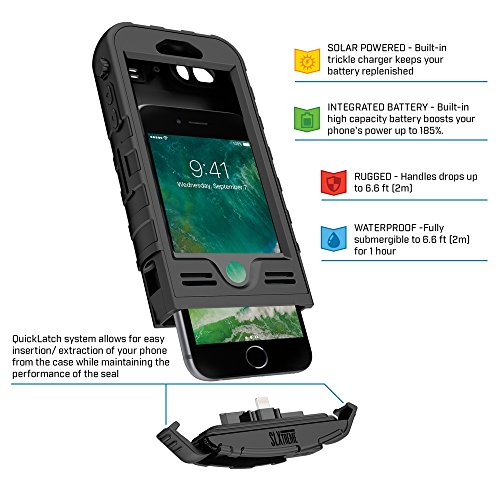 SnowLizard SLXtreme iPhone 8 Plus Case. Solar Powered, Rugged and Waterproof with a built in Battery - Night Black by Snow Lizard Products (Image #7)