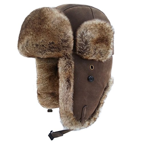 lethmik Winter Faux Fur Hunting Hat Unisex Trapper Russian Aviator Trooper Hat Updated Cracking Brown