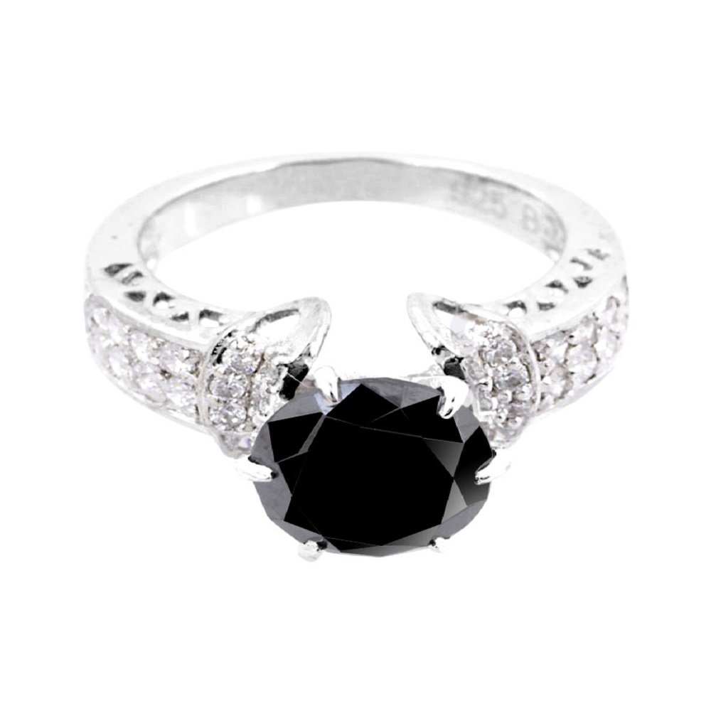 3ct Certified AAA Quality Black Diamond Solitaire Engagement Ring, Wedding Ring With VVS! White Diamonds