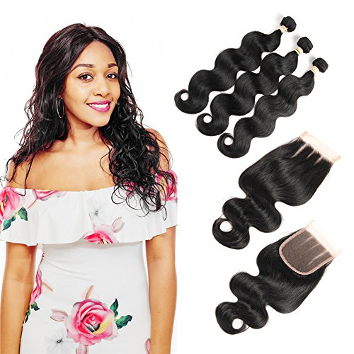 Boucle Weave (Queen Plus Hair 8A Body Wave 3 Bundles with Closure 3 Part Brazilian Virgin Human Hair Extensions Weave Unprocessed Human Hair Bundles with Three Part Lace Closure(10 12 14 with 8))