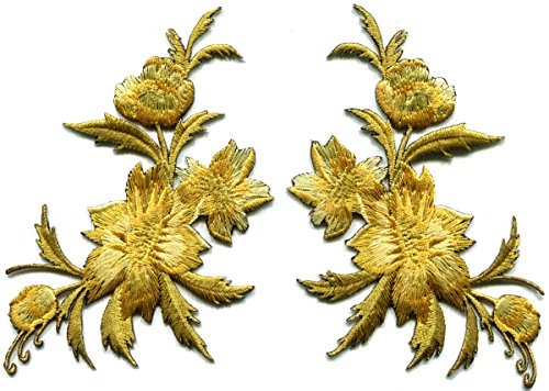 Gold flowers pair floral bouquet boho embroidered appliques iron-on patches (Iron On Patches Appliques)
