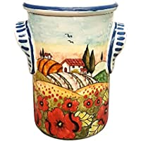 CERAMICHE D'ARTE PARRINI- Italian Ceramic Utensil Holder Wine Bottle Hand Painted Made in ITALY Decorated Landscape Poppies Tuscan Art Pottery