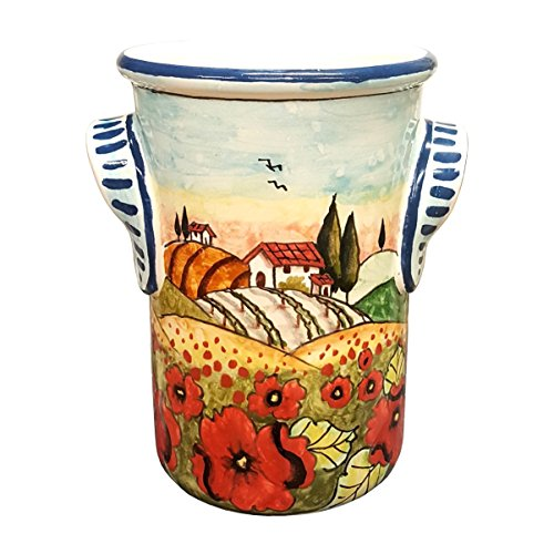 RINI- Italian Ceramic Utensil Holder Vessel Hand Painted Made in ITALY Decorated Landscape Poppies Tuscan Art Pottery (Italian Hand Painted Pottery)