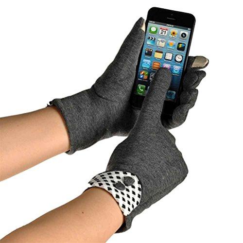 Decorie Winter Warm Fashion Screen Touch Women Wrist Gloves & Mittens (Grey) - Prime Training Gloves 16 Oz Grey