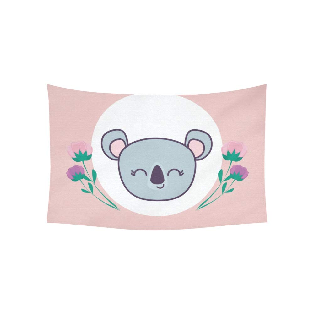 Jnseff Tapestry Head Cute Koala Frame Circular Flowers Tapestries Wall Hanging Flower Psychedelic Tapestry Wall Hanging Indian Dorm Decor for Living Room Bedroom 6040inch
