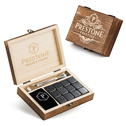 Premium Whiskey Stones Gift Set | 12 Polished Granite Reusable Ice Cubes | Complete Luxury Handcrafted Set - 12 Stones, Engraved Wooden Box, Velvet Bag and Tongs | Perfect Gift for Men (Gift Set)