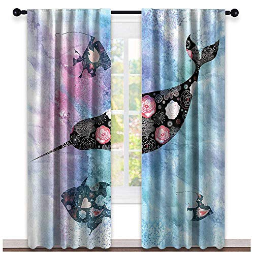 - hengshu Narwhal, Window Treatments Curtains Valance, Floral Patterned Narwhal Whale and Fish Psychedelic with Abstract Art Inspirations, Curtains Kids Bedroom, W72 x L96 Inch Multicolor