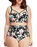 #3: Lalagen Women's Strappy Hollow Out Floral Swimwear Plus Size High Waist Bikini Sets