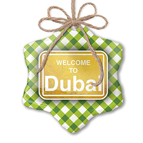 (NEONBLOND Christmas Ornament Yellow Road Sign Welcome to Dubai Green Plaid)