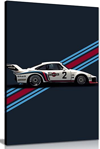 Porsche Martini Racing Le Mans Canvas Wall Art Picture Print 36x24in