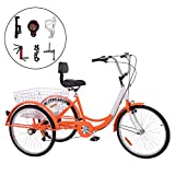 Barbella 7 Speed Adult Tricycle Three-Wheeled Bicycle with Cipher Lock, Bike Pump, Assembly