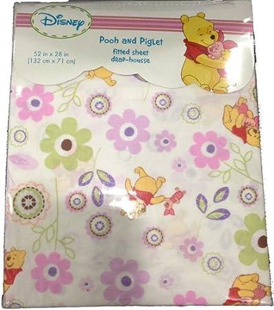 9357b87eefc5 Amazon.com : Disney Winnie the Pooh Fitted Crib Sheet - White with Flowers  : Pooh Nursery : Baby