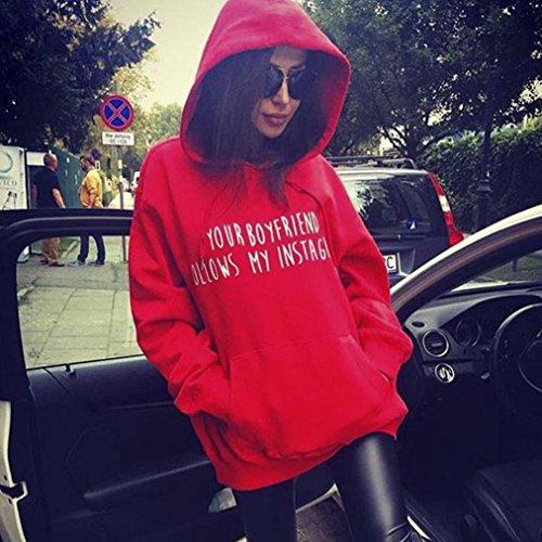 Lettre Ado Femme Blouse Rouge Fille Ample Casual Manteau Chic A Imprimer Capuche Sweatshirt Sweatshirt Angelof Femme 1w4xSS