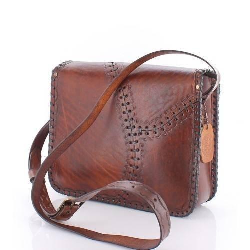 Handmade Leather Satchel Crossbody Bag for Women Genuine Leather Handbag Purse Medium Brown