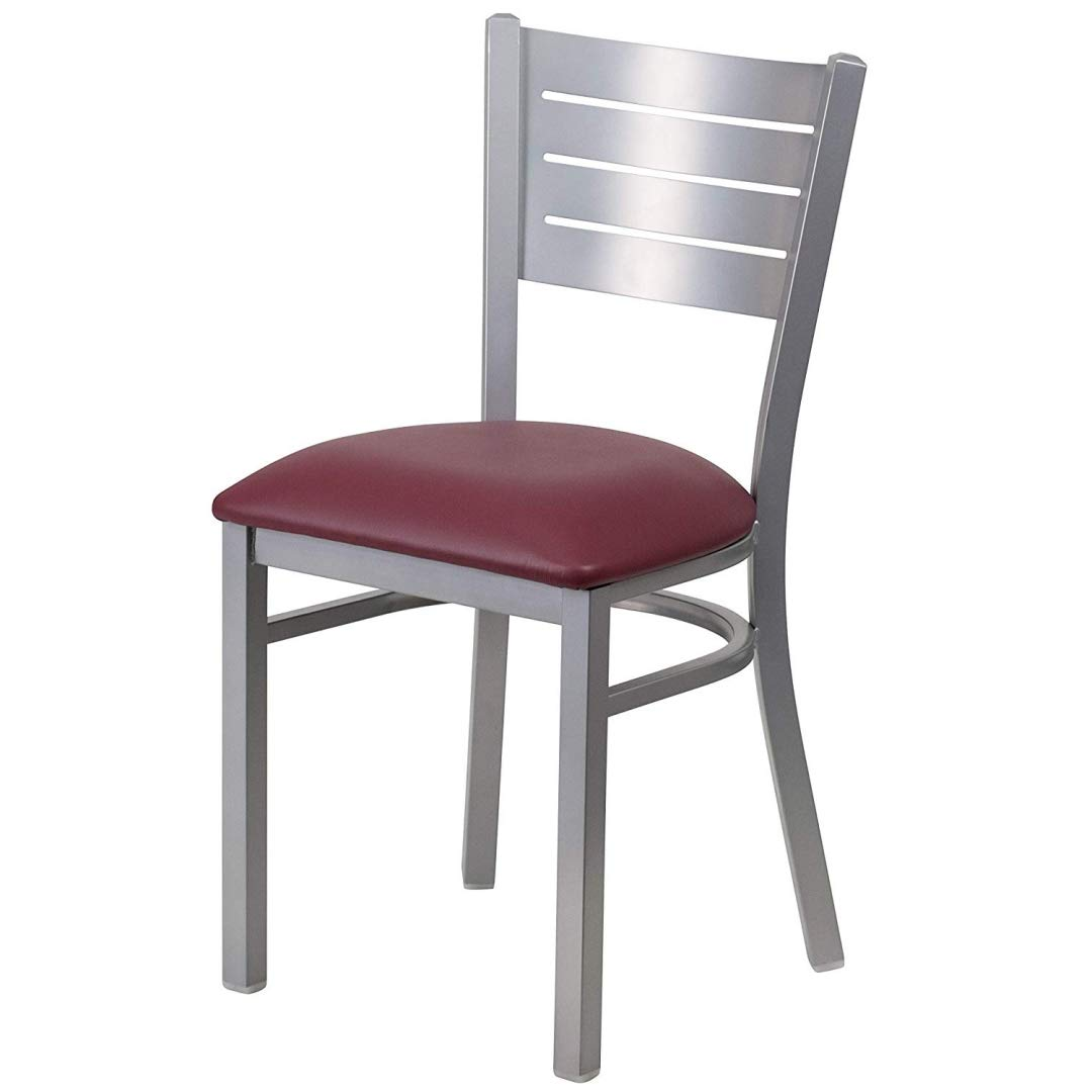 Modern Style Metal Dining Chairs School Bar Restaurant Commercial Seats Slat Back Design Silver Powder Coated Frame Finish Home Office Furniture - (1) Burgundy Vinyl Seat # 2166