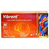 VibrantTM Micro-textured Powder Free Latex Exam Gloves (Box of 100), Medium