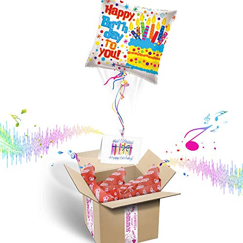 HAPPY BIRTHDAY INFLATED HELIUM BALLOON GIFT PACKAGE | Includes Coordinating Customizable Greeting Card | Pops out of the Box and Plays a Happy Birthday Jingle When Opened - Box Gift Balloons