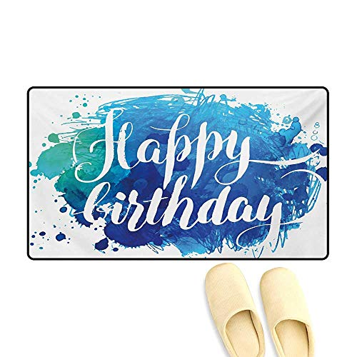 Bath Mat,Watercolor Greeting Card Inspired Display with Text Brushstrokes Celebration,Door Mats for Inside Non Slip Backing,Blue Green White,20