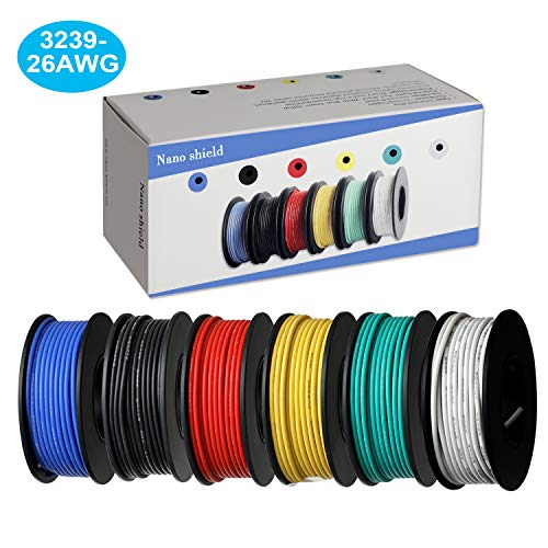 6 Colors (32.8ft Each) Hook Up Wire Kit (Stranded Wire Kit) 26 AWG UL3239 Approved, 7 Gauge Felexible Silicone Rubber Insulated Wire Tinned Copper, 300V Cables Electronic Cable ELectrical Wire ()