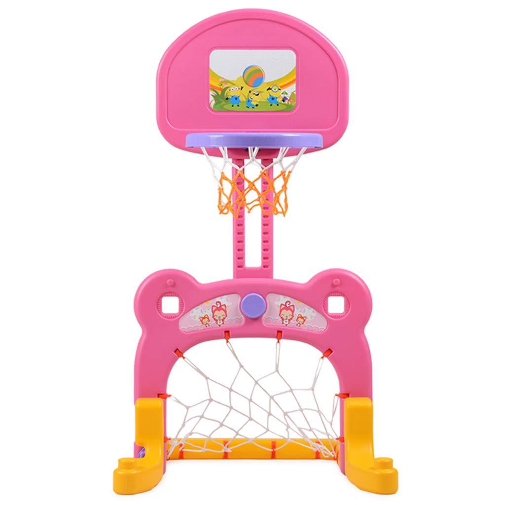 Soporte de básquetbol para niños Objetivo de fútbol para interiores casero levantable Estante para fútbol infantil para interiores Aro de baloncesto Adecuado para 1-6 años Enviar baloncesto / fútbol A