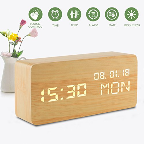 Led Digital Analog Alarm Clocks, Wooden Travel Clock with Time/Date/Week/Temperature/USB Desk Shelf Clocks, Sound Control 3 Levels Brightness 3 Loud Alarm for Heavy Sleepers Bedrooms Kids Girls ()