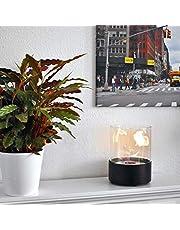 GLOW FIRE Emma Ethanol Tafelhaard | Rond Tafelvuur, 4 branduren, Open haard met veel vlammen | Decoratief Vuur met TÜV Certificaat, Zwart