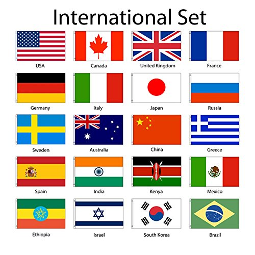 International 3x5 Flag Set of 20 Country Countries Polyester