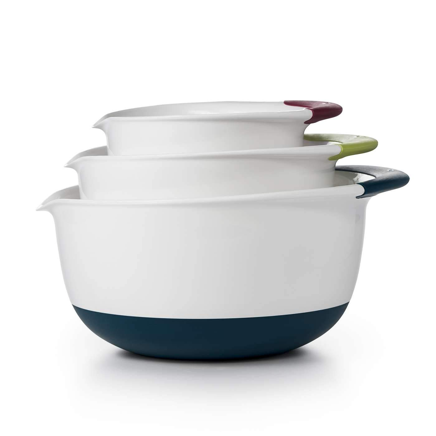 OXO Good Grips 3-piece Mixing Bowl Set, White Bowls with Red/Green/Blue Handles