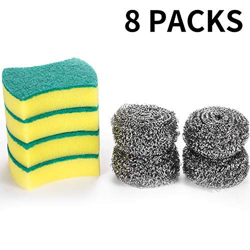 Stainless Steel Scouring Pad Set, 4 Stainless Steel Scourers with 4 Cleaning Sponges, for Dish Washing, Kitchen Cleaning, Cooking Utensil, Cookers, Tableware, Kitchenware, Household Ware (8 Packs)