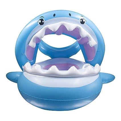 TiburóN Flotador para Bebé Anillo De NatacióN Bebé Swim Ring Inflable Piscina Flotador Bebé con Toldo