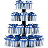 DYCacrlic 4 Tier White Birthday Cupcake Stand - Tiered Plastic Cupcake Carrier Display Tree For Babby Family Friends - 1st Birthday Cake Stand Acrylic- Unique Wedding Cupcake Tower Decorations