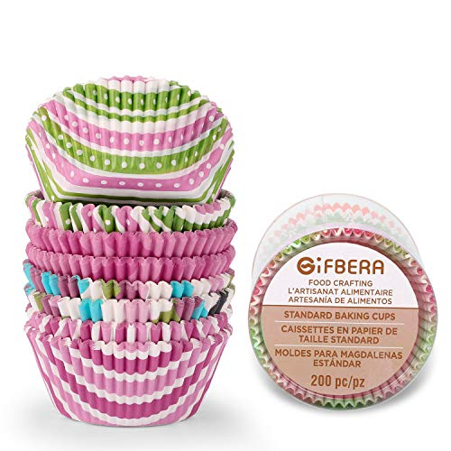 Gifbera Standard Cupcake Liners Bright Colors, Pink/Green Colorful Paper Baking Cups, 200-Count -