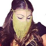 ZYZF Women Girls Egyptian Tribal Punk Tassel Metal Head Face Chain Veil Forehead Headband Party Mask Belt Dance (Golden)