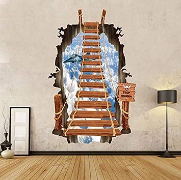 Rureng Escalera De Escalera De Moda 3D Vinilo Pegatinas De Pared Bricolaje Pared Rota Nube Aviones Wallpaper Decoración Mural Mural: Amazon.es: Bricolaje y herramientas