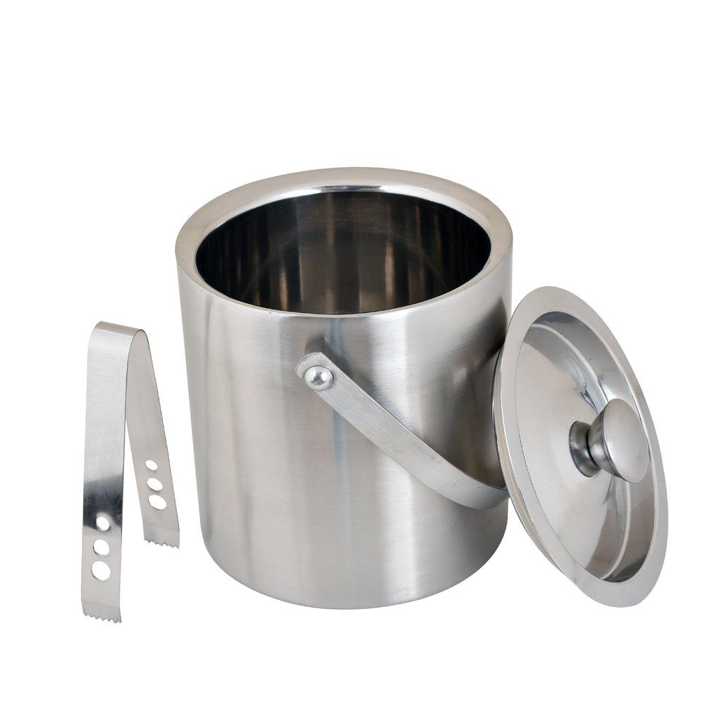 Kosma Stainless Steel Double Wall Ice Bucket with Tongs | Ice Cube Bucket - 18 x 15 cm by Kosma (Image #2)