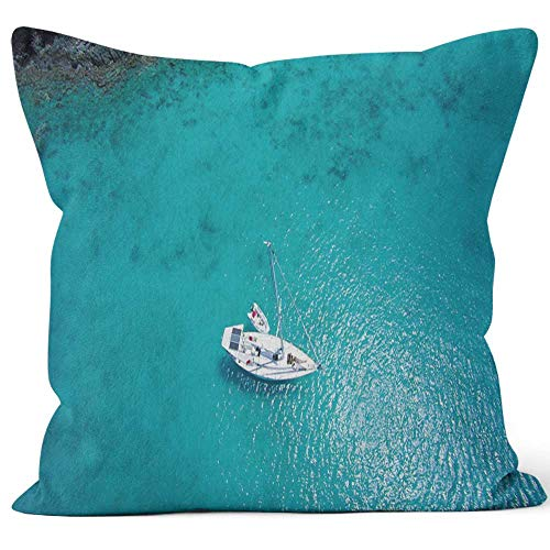 Nine City Aerial View of Couple Relaxing on Sailboat in The Caribbean Throw Pillow Cover,HD Printing for Sofa Couch Car Bedroom Living Room D��cor,20